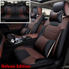 Luxury Microfiber Leather Car Seat Cover Cushion 5 Seats Front+Rear with Pillows