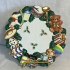 Fitz & Floyd Old World Christmas Wreath With Toys Candy Nut Dish Wall Plate NIOB