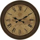 Allen + Roth Analog Large Round Indoor Home Living Decor Brown Wall Clock, NEW!