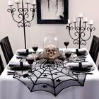 Scary 40 Black Halloween Spider Web Lace Round Tablecloth Topper Gothic Dcor