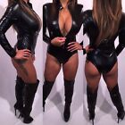 Connies Black Bodysuit Wet Leather look Zip Front closure L