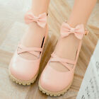 Cute Womens Princess Mary Janes Girls Round Toe Flat Ankle Strap Bowknot Shoes