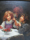 Vintage Robert Driscoll ORIG Victorian Children  Dog Tea Party Oil Painting yqz