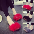 Women Fur Fluffy Slippers Sandals Feather Slides Mules Home Open Toe Shoes KUS