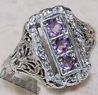1CT Amethyst 925 Solid Genuine Sterling Silver Edwardian Style Ring Jewelry Sz 8