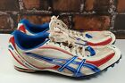 Asics Hyper MD Mens White Red Blue Athletic Track Spiked Shoes Sz 115 G901N