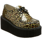 Demonia Womens Platform Goth Punk Rockabilly Creeper Cheetah Lace Up CREEPER 208