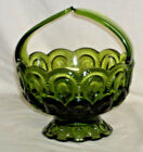 Vintage rare L.E. Smith Avocado Green MOON AND STAR basket with Split Handle
