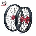 NEW CNC WHEELS SET RED HUBS HONDA  CRF250R 2014-2019 CRF450R  2013/2019 21/19
