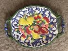 Fitz and Floyd Florentine Fruit Platter, 16 1/2 Inch Oval Platter with Handles