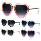 Womens Retro Valentine Love Glitter Plastic Heart Sunglasses