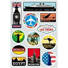 12x Sticker Retro Travel Famous Scenery A4 Size Luggage Laptop Skateboard Decal