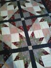 Vintage / Antique CRAZY QUILT All Silky Fabric Top Briar Stitching  88