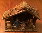 RARE Small Vintage NATIVITY Christmas Set Scene Wood Manger MADE IN ITALY