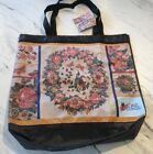 DAR Daughters Of The American Revolution Peacock And Floral Tote Bag Woven New