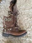 Ash Studded Harness Biker Motorcycle Brown Leather Womens Boots 40 9 US
