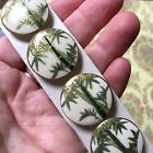 Antique Satsuma Buttons 6 Bamboo Ceramic Japanese Gold Hand Painted Set Vintage