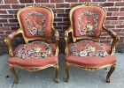 Pair Of Antique French NEEDLEPOINT Floral Carved Wood Tapestry CHAIRS