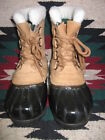 EXCEPTIONAL WOMENS SOREL CARIBOU BLACK/TAN INSULATED WATERPROOF SNO-PAC BOOTS 7M