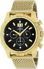 NEW GUESS MEN CHRONO GOLD STAINLESS STEEL BRACELET WATCH U0205G1 W/BLACK DIAL