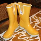 Ladies Cute Rubber Boots Yellow Sz 7 11 Side Gore