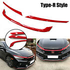 Type R Style Sporty Red Front Bumper Grille Decal Trim For Honda Civic 2016 2019
