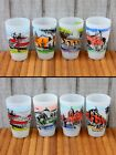 RARE VINTAGE 1950'S CALIFORNIA MISSIONS SET OF 8 FROSTED 12 OZ TUMBLER GLASSES