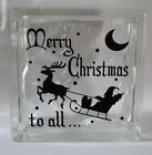 Merry Christmas to all Santa reindeer decal sticker for 8glass block shadow box