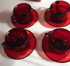4 Vintage Ruby Red Glass Cups and Saucers by Arcoroc France
