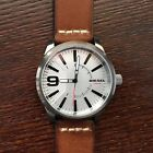 NWT Diesel Rasp Silver Dial Gunmetal Stainless Steel Watch Leather 46mm DZ1803