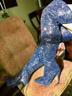 Pointy Toe Over The Knee Thigh High Heels Stiletto Sparkle Glitter Dress Boots