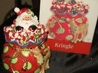 Fitz & Floyd Deck Cookie Jar KRINGLE Holicay Collection Vibrant colors