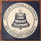 VINTAGE ANDE ROONEY AMERICAN TELEPHONE  TELEGRAPH CO BELL SYSTEM Porcelain Sign