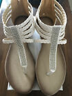 Womens Sandals WHITE silver dots  NEW size 7 back zipper