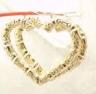 2 3 8 Large Heart Shaped Textured Bamboo Hoop Earrings REAL 10K Yellow Gold