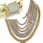 Miami Cuban Link Chain W 1ct Diamond Clasp 14k 18k Gold Plated Stainless Steel