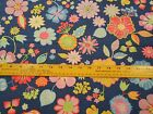 Fabric 1 Yard Happy Pink Daisy Yellow Blue Flowers Lime Tulips Paintbrush Studio