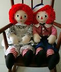 RAGGEDY ANN and RAGGEDY ANDY 22 inch hand made  set of new  cloth dolls