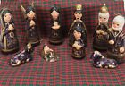 Christmas Nativity Set Tonala Creche Purple Mexican Mexico Ceramic Folk Art 10pc