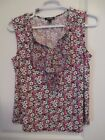 Roz  Ali Pink  green Floral Ruffle front top Sleeveless sz Large