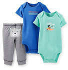 Carters Baby Boys 3 Piece Bodysuit  Pant Set in Grey Blue Green 12 Months