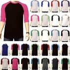 3 4 Sleeve Plain Baseball Raglan T Shirt Tee Mens Sports Team Jersey 30+ Colors