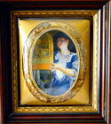 Antique Convex Picture Frame with bubble glass in Mahogany Frame H. D. Sterrick