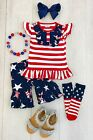 NEW Girls Boutique outfit Tank top and Ruffled capris Size 8 summer 4th July