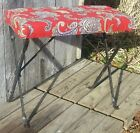 Vintage Antique Black Wrought Iron Piano Organ Bench w/ Red Paisley Upholstery