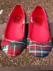 Girls Red Plaid Flats GAP size 2 Youth Christmas Party Slip On Excellent EUC