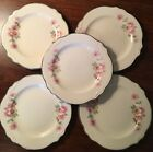 5-HOMER LAUGHLIN-VIRGINIA ROSE-BREAD BUTTER/DESSERT PLATES-6.25 INCH-MADE IN USA