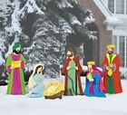 Outdoor Christmas Deluxe Nativity Scene Large Metal Yard Stakes Decoration 6 PC