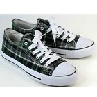 Misbehave Canvas Green Plaid Kicks 85 Low Top Punk Fashion Sneakers Lace Up