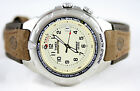 Timex Men's T479029J Expedition Easy Set Alarm Brown Leather Strap Watch Mint